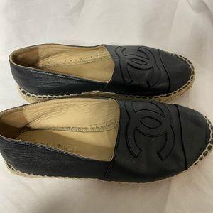 Chanel black leather CC espadrilles
